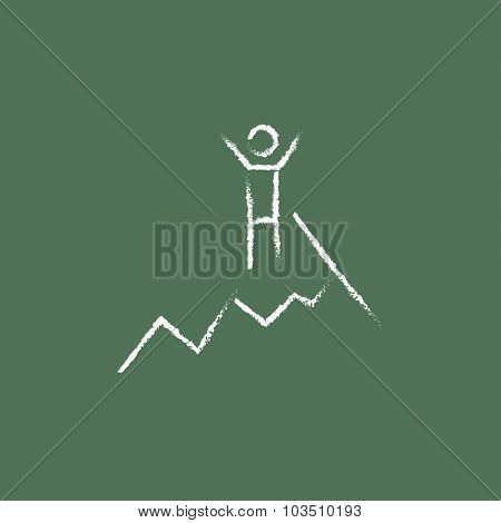 Climbing hand drawn in chalk on a blackboard vector white icon isolated on a green background.