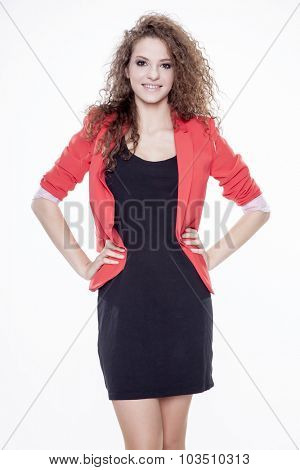 Portrait of young adult attractive happy smiling woman dressed red jacket and black dress, Isolated on white background
