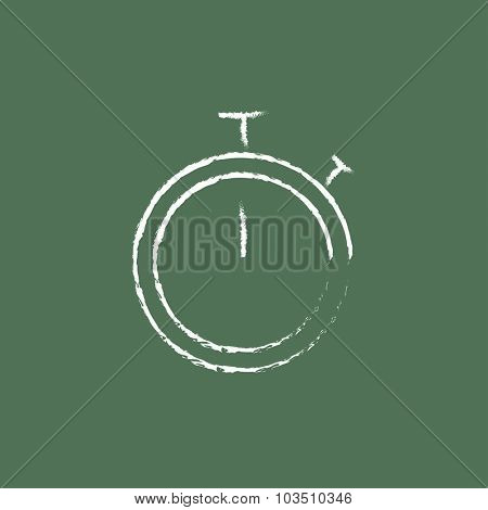 Stopwatch hand drawn in chalk on a blackboard vector white icon isolated on a green background.