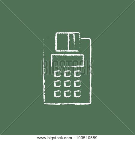 Cash register hand drawn in chalk on a blackboard vector white icon isolated on a green background.