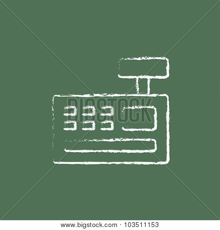 Cash register machine hand drawn in chalk on a blackboard vector white icon isolated on a green background.