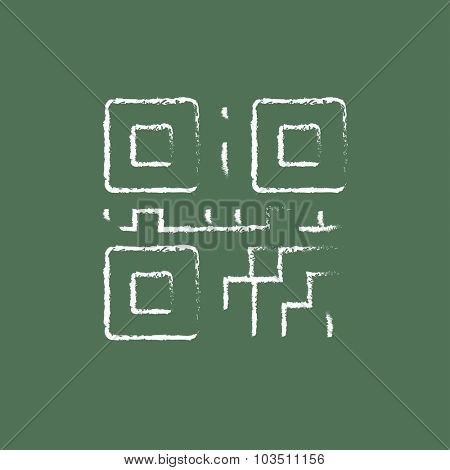 QR code hand drawn in chalk on a blackboard vector white icon isolated on a green background.