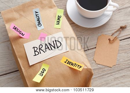Branding Marketing Concept With Paper Bag And Brand Tag