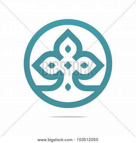 Logo symbol circle plant icon vector