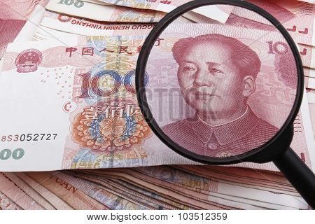 A Close Look On a Chinese 100 RMB Banknote.