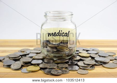 Coins In Glass Container With Medical Label On Wooden Surface Against White Background.financial Con