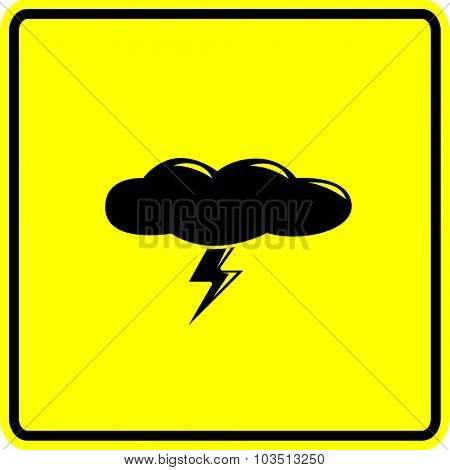 cloud with lightning sign