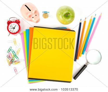 Copybooks with apple and office stuff