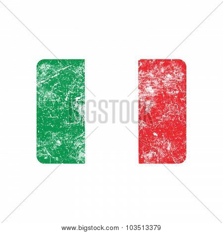 Illustration Vector Grunge Stamp Flag Of Italy Country.