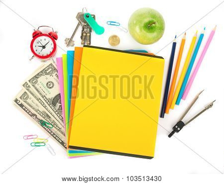 Copybooks with cash and office stuff