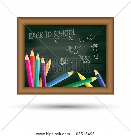 Back To School, Written On Blackboard, Vector Illustration