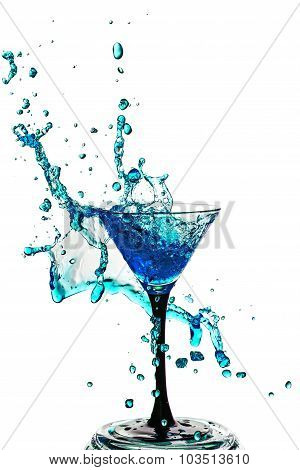 Cocktail Glass With Splash Isolated On White Background.