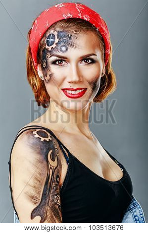 Girl Mechanic With Face Art.