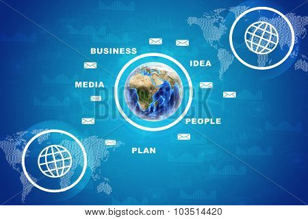 Earth with business words and graphs