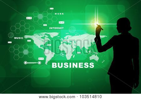 Businesswomans silhouette on green