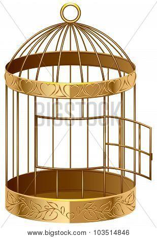 Open gold birdcage. An empty birdcage