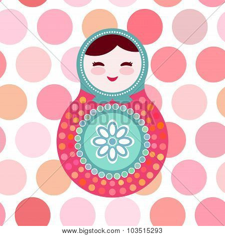 Russian dolls matryoshka on white background, pink and blue colors, card with pink polka dot backgro