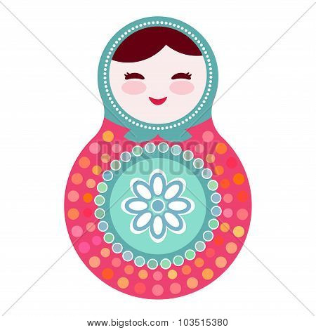 Russian dolls matryoshka on white background, pink and blue colors. Vector