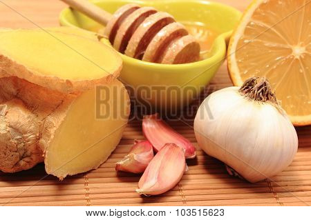 Fresh Fruits And Vegetables With Honey, Healthy Products