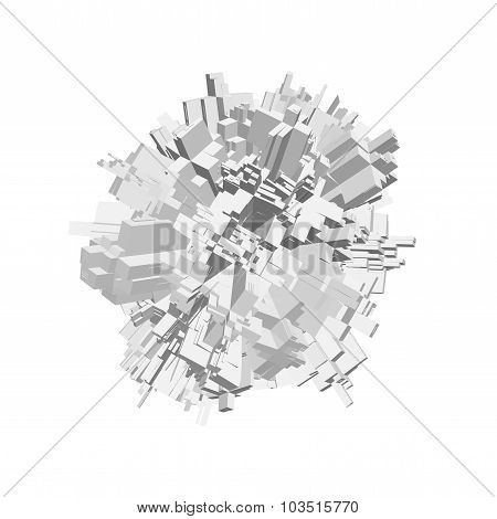 3D Object With Chaotic Extruded Shape, Isolated