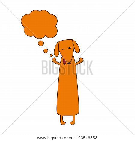 Cute Dachshund With Dream Bubble