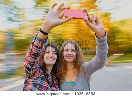 women selfie in autumn