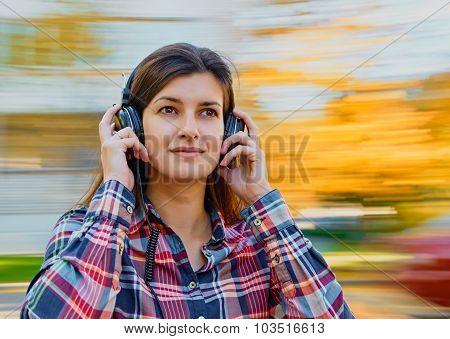 fun with music headphones outdoor