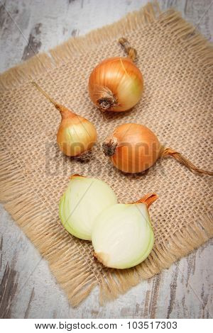 Fresh Onions On Jute Canvas, Healthy Nutrition And Strengthening Immunity