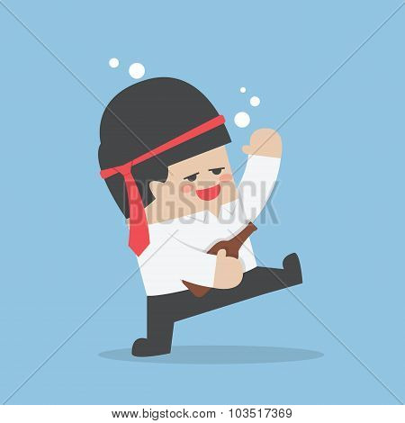Drunk Businessman With Alcohol Bottle