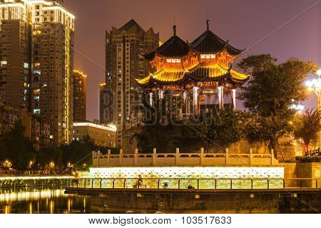 Night View Of Hejiang Pavilion In Chengdu