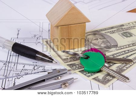 House Of Wooden Blocks, Currencies Dollar And Accessories For Drawing, Building House Concept