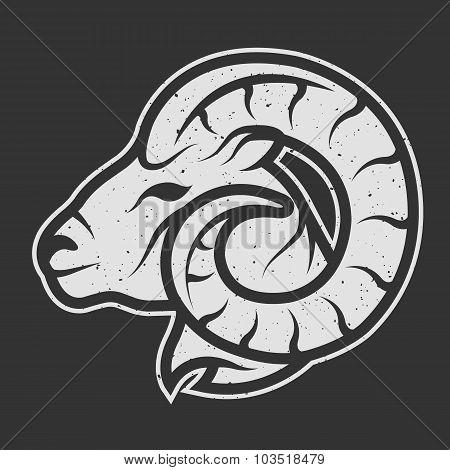 Sheep symbol logo for dark background.