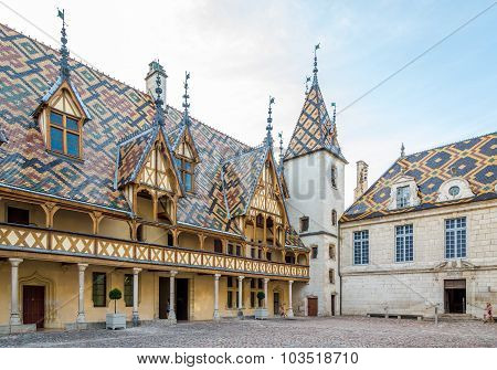 Courtyard Of The Hospices De Beaune.