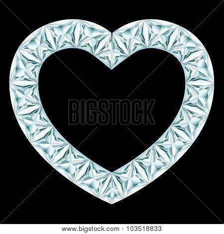 Diamond Heart Frame On Black Background
