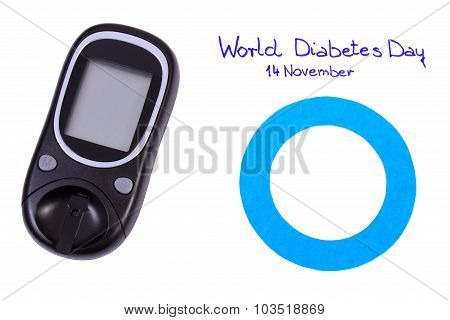 Blue Circle And Glucometer On White Background, Symbol Of World Diabetes Day