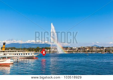 Water Jet Fountain With Rainbow In Geneva