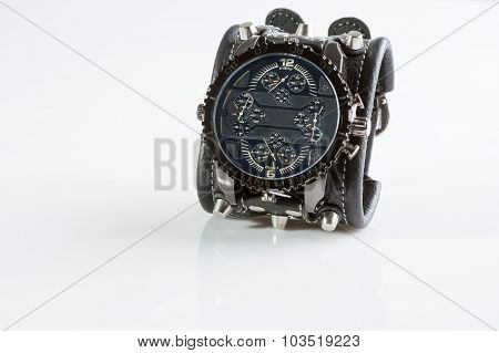 cool watch on a white background. leather bracelet