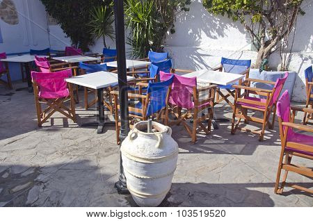 Caffe Furniture In Greece With A Pot