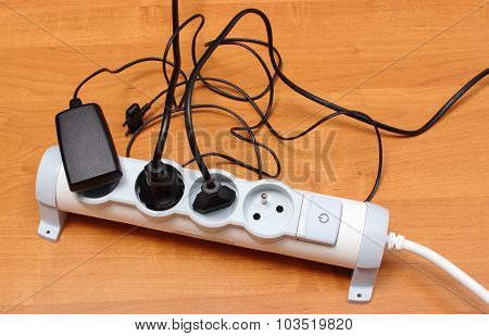 Electrical Cords Connected To Power Strip, Energy Saving