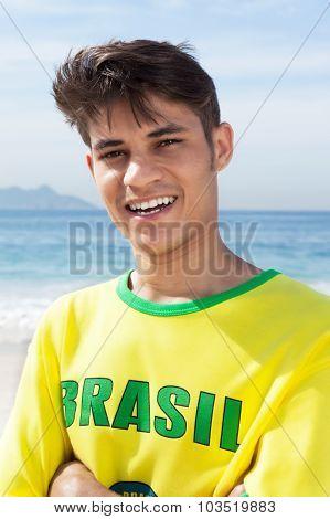 Portrait Of A Brazilian Sports Fan At Beach