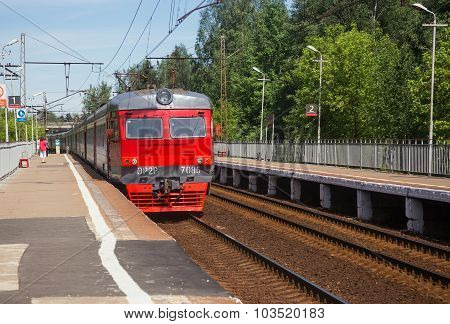 The Electric Train Arrives At The Platform Vodniki In Moscow
