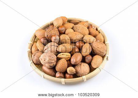 Mix Nuts In Wicker Basket