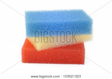 Synthetic Sponge On White Background