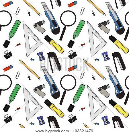 Stationery tools vector pattern