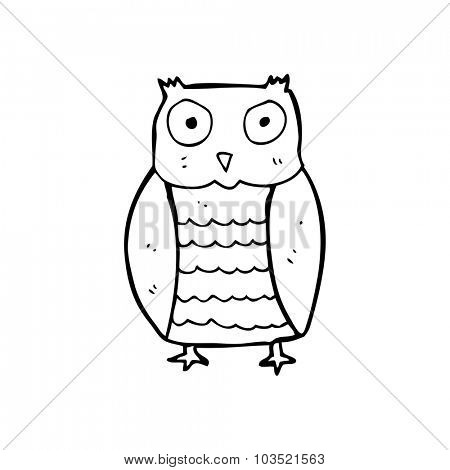 simple black and white line drawing cartoon  owl