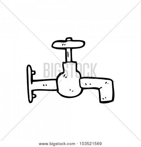 simple black and white line drawing cartoon  faucet