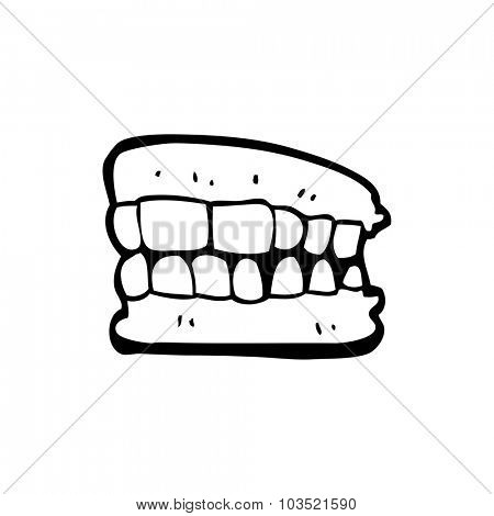 simple black and white line drawing cartoon  false teeth
