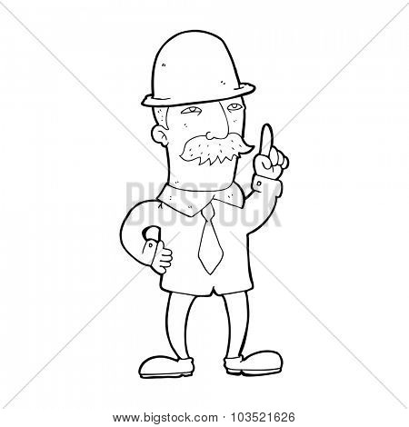 simple black and white line drawing cartoon  man in bowler hat