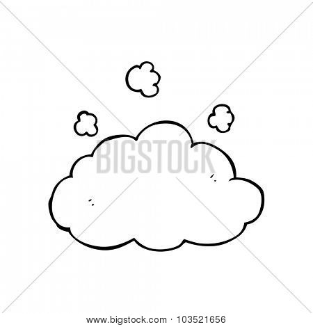 simple black and white line drawing cartoon  fluffy pink cloud