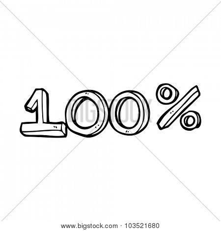 simple black and white line drawing cartoon  100% sign